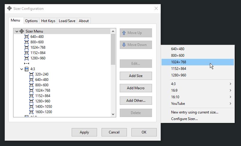 Sizer Configuration